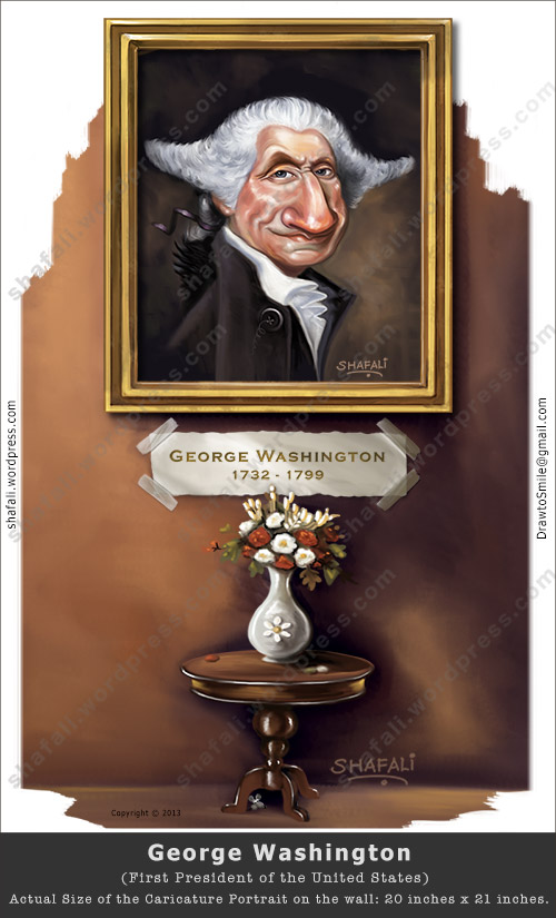 A Caricature Cartoon painting of George Washington, the first President of the US.