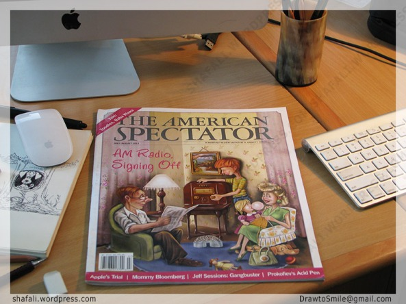 The American Spectator Magazine Cover - July August 2013 Issue Cover Art - The Radio Family by Shafali Anand
