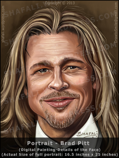 Brad Pitt's color portrait (close up of face) painted using Photoshop cs6