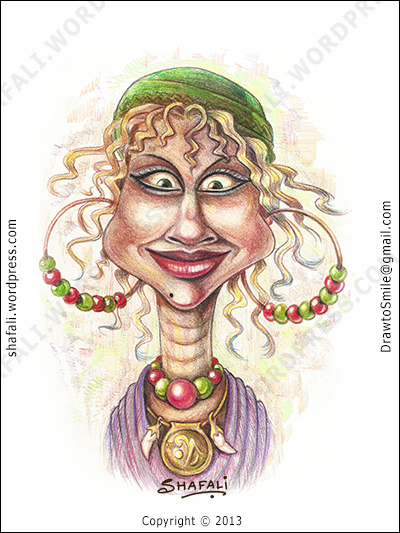 The Caricature Cartoon Portrait Sketch Drawing of a Witch , Oracle, Fortune-teller, card-reader in color pencils.