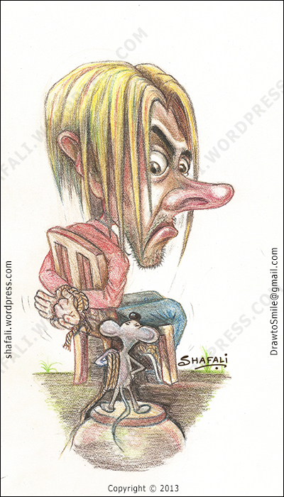 The caricature of a blond man kidnapped by a mouse. The captor and the captive - a pencil color drawing.