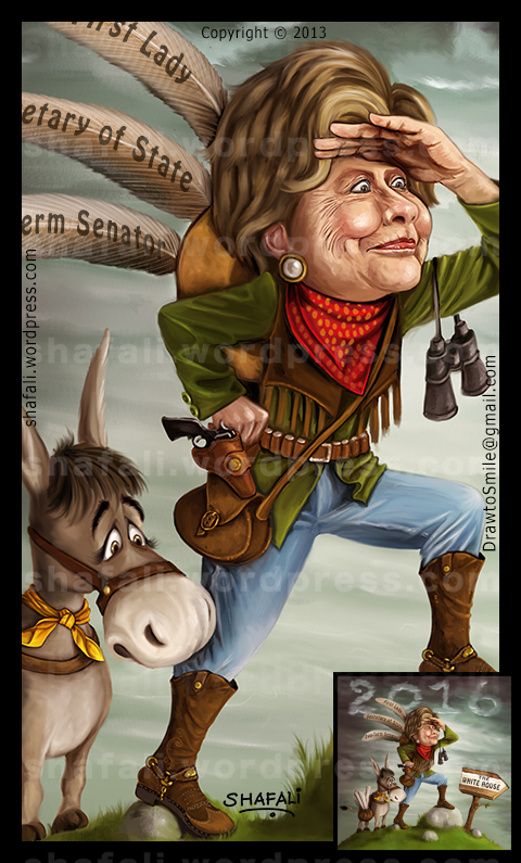 Caricature cartoon color drawing painting of Hillary clinton - running for the 2016 US presidential elections - shown here with a donkey.