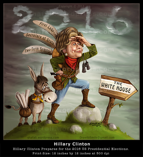 Caricature cartoon in color - Hillary clinton - democratic candidate - US Presidential elections - 2016 - with donkey and 3 feathers in her cap.