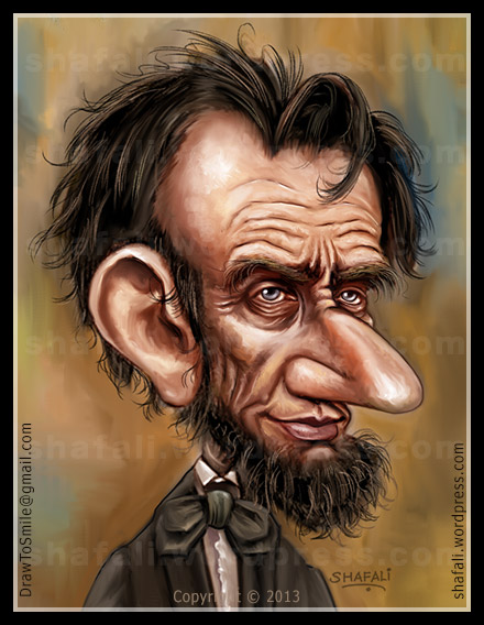 Color Caricature - American President Abraham Lincoln - Digital Painting - Shafali