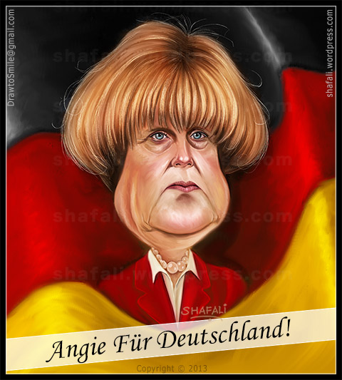 Caricature Cartoon of Angela Merkel who won the 2013 German Elections to become Chancellor for the third time in succession.