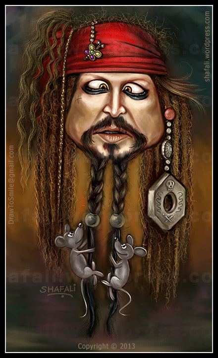Caricature, Cartoon, Color-portrait of Johnny Depp as Captain Jack Sparrow (with his two mice) in Pirates of the Caribbean.