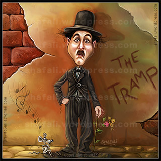 Charlie Chaplin as the tramp - with the mouse playing the flute and a rose stem as a stick.