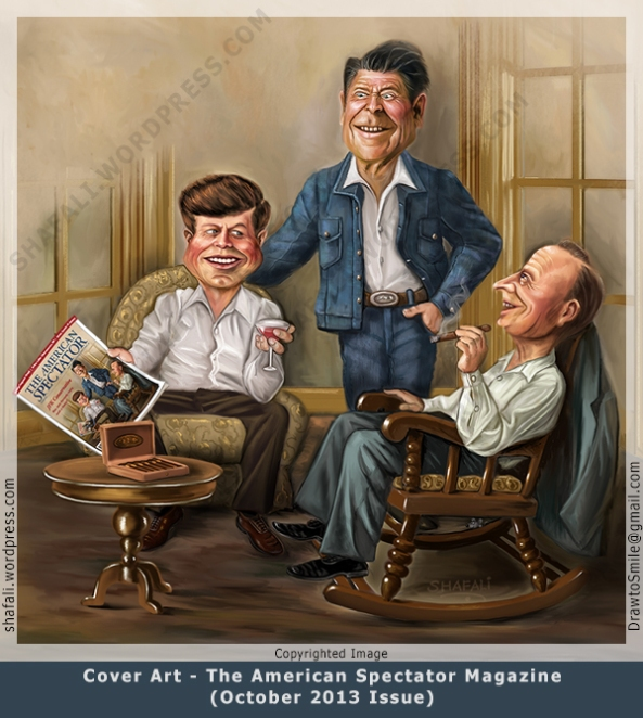 Cover Art for the October 2013 Issue of the American Spectator Magazine Presidents John F. Kennedy, Ronald Reagan, and Calvin Coolidge.