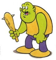 Cartoon of monster with a mace.