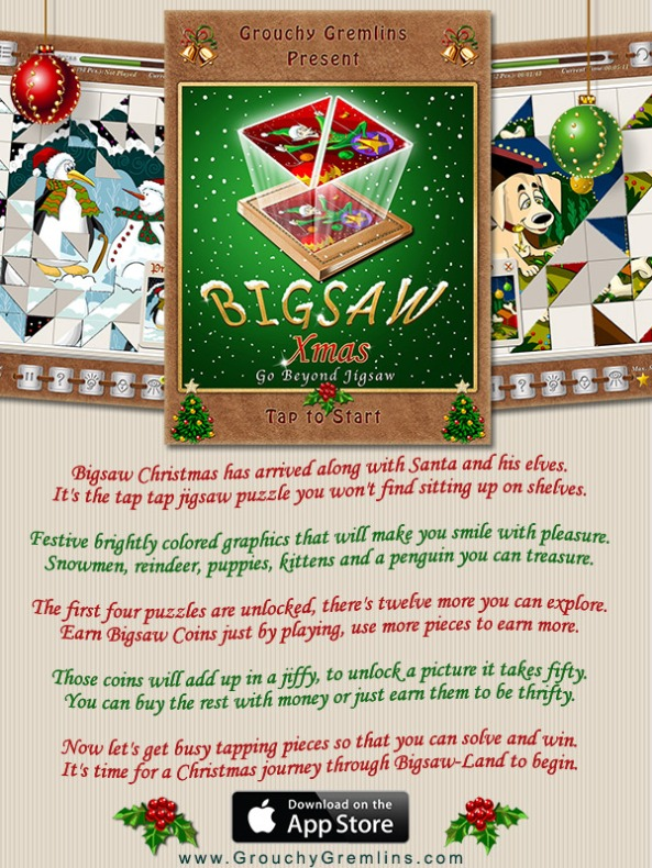 Bigsaw Xmas - This Christmas Go Beyond Jigsaw and Experience a new Addicting Gameplay in a Picture-Puzzle!