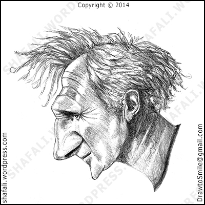 Caricature, Cartoon, Portrait, Profile of Liam Neeson of Schindler's List, The Grey, The Unknown, and Taken.