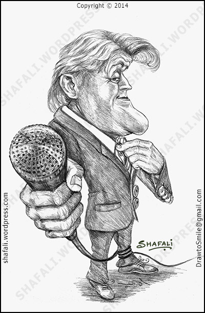 Caricature, Cartoon of Jay Leno - The Tonight Show Host (Portrait, Sketch, Drawing - event: Retirement.)