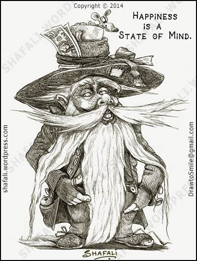 Happy Hobo - Caricature, Cartoon, Artwork, Drawing, Poster on Happiness and Spirituality.