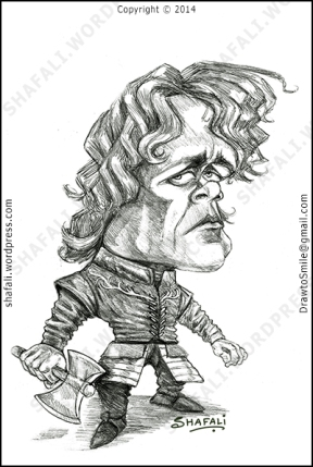 Caricature, Cartoon, Pencil Portrait of Tyrion Lannister (Peter Dinklage) - Game of Thrones