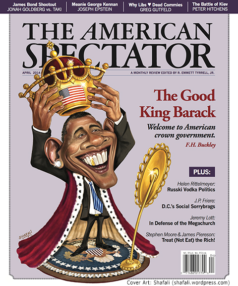 Caricature, Digital Painting - The American Spectator Cover - The good king Barack - Cover Art for the April 2014 issue.