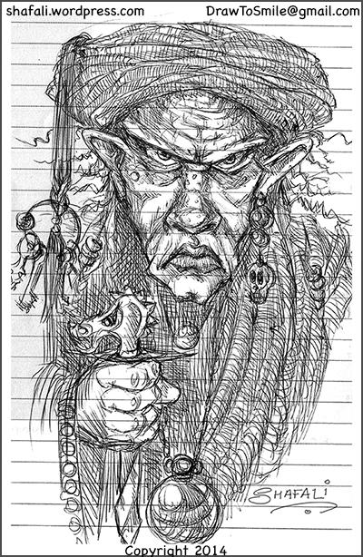 Caricature Cartoon Sketch Pen and ink drawing of a murderer, assassin, killer - a generally evil man