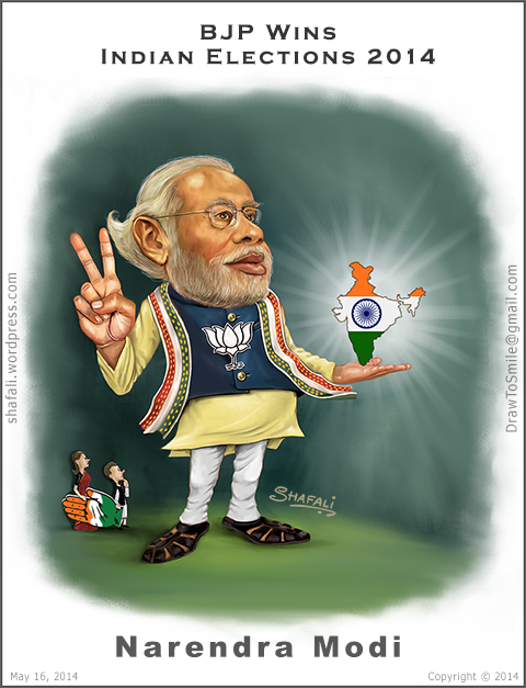 Caricature, Cartoon, Portrait of Namo, Narendra Modi, the Gujarat CM who became India's prime minister!