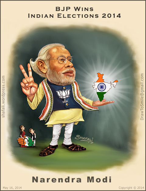 Caricature of Narendra Modi as BJP wins the 2014 Indian elections.