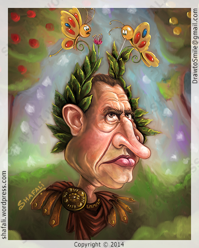 Caricature, Cartoon, Portrait of the Roman General Julius Caesar.