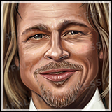 Portrait of Hollywood Celebrity and Actor Brad Pitt - Poster-size