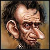 Portrait Caricature of US President Abraham Lincoln.