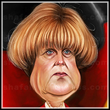 Color Caricature of Angela Merkel - The Chancellor of Germany.