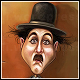 Caricature or Charlie Chaplin as the tramp.