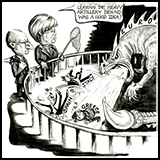 Cartoon of Angela Merkel and Hollande trying to tame the Eurozone dragon.