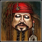 Caricature– Johnny Depp as Captain Jack Sparrow - Pirates of the Caribbean.