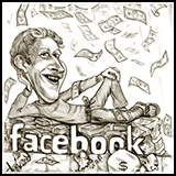 Caricature Mark Zuckerberg Founder Facebook - Humor on Sharing Information with Corporates.