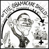 Caricature Cartoon President Barack Obama with the Obamacare shield.