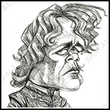 Caricature of Peter Dinklage as Tyrion Lannister in Game of the Thrones.