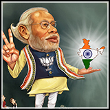 Cartoon portrait of Narendra Modi - The Prime Minister of India.