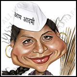 Caricature of Gul Panag of the Aam Admit Party - Illustrated for an Android Game by Gurpeet Kang.