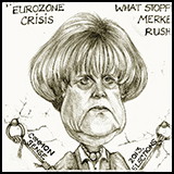 Caricature Angela Merkel Chancellor Germany Eurozone Crisis.