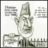 Caricature Afghanistan President Hamid Karzai.