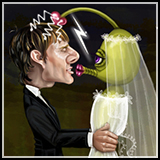 Caricature of Tom Cruise with his alien wife.