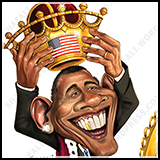 Barack Obama crowns himself King. Cover art for the American Spectator Magazine.