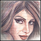 A color pencil sketch of Bipasha Basu, the famous bollywood actress, in my diary.