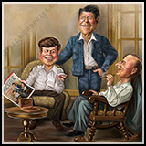 Caricature Composition Illustration: Three Presidents - Kennedy, Reagan, and Coolidge - Cover Art for The American Spectator Magazine.