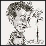 Caricature Cartoon Nicolas Sarkozi and the Eurozone.