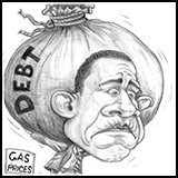 Caricature Cartoon barack obama with the debt burden.