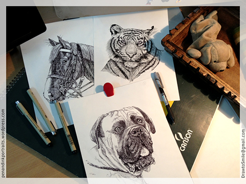 Pen and Ink Portrait Artist's Desk - Portraits of Dogs, Cats, Horses, Tigers…everything furry - other animals and wildlife.