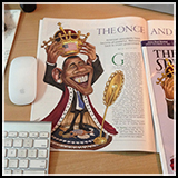 Political Caricature - President Obama crowning himself. cover art and inner illustration for the American Spectator Magazine.