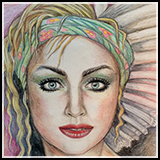 Portrait in Color Pencils - A beautiful witch with hypnotic eyes.