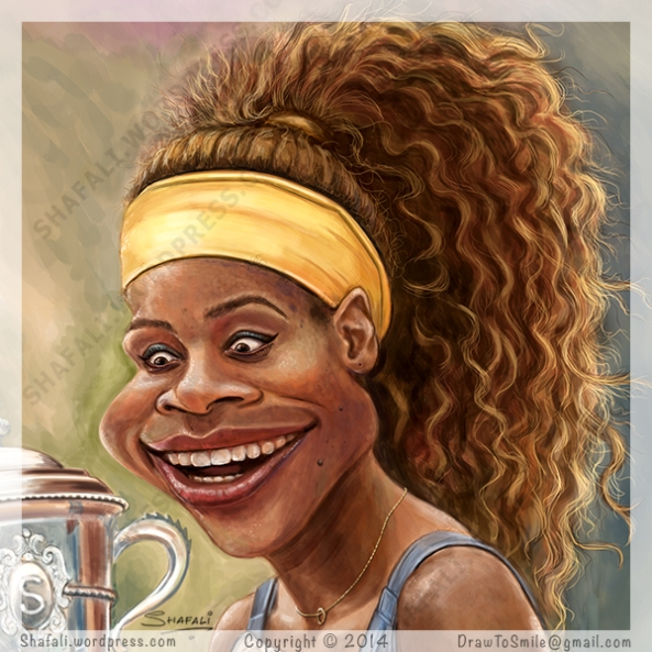 Caricature portrait - Face details - Tennis Star and Sports Celebrity - Serena Williams holding the French Open cup - Caricatures Sports.