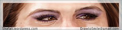 Eyes - details - Selena Gomez Portrait Caricature by Shafali - Closeup for details.