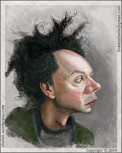 Caricature Portrait of Malcolm Gladwell, the Author of The Tipping Point, Blink, and What the Dog Saw.