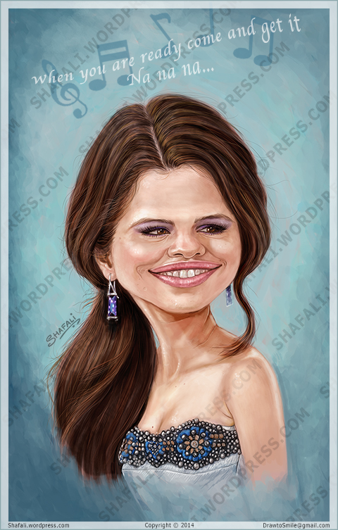 Caricature, Portrait, Poster of Selena Gomez - Stars Dance - When you are ready come and get it.