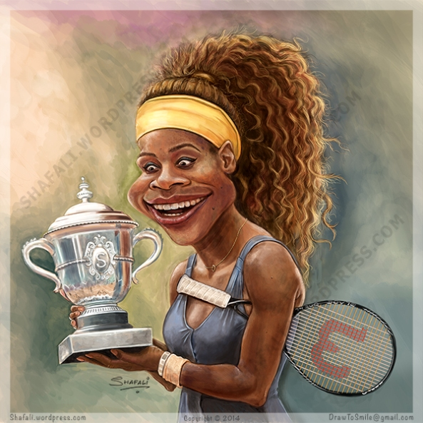 Caricature portrait of Serena Williams holding the French Open cup - Caricatures Sports - Tennis Stars